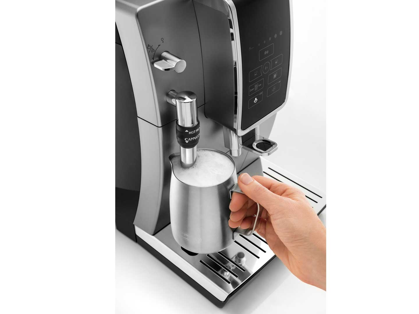 Dinamica Automatic Coffee & Espresso Machine with Iced Coffee + Adjustable Milk Frother, Silver -  - ECAM35025SB