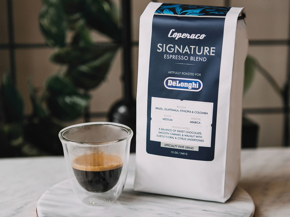 De'Longhi Signature Espresso Blend Coffee, 100% Arabica, Medium Roast, (Ground) 12 oz – 5513285041