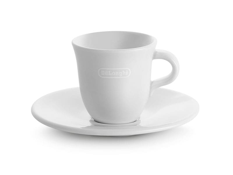 De'Longhi Italian Espresso Demitasse Cups & Saucers by Tognana, Porcelain, 2.4 oz, Set of 2 -  - DLSC308
