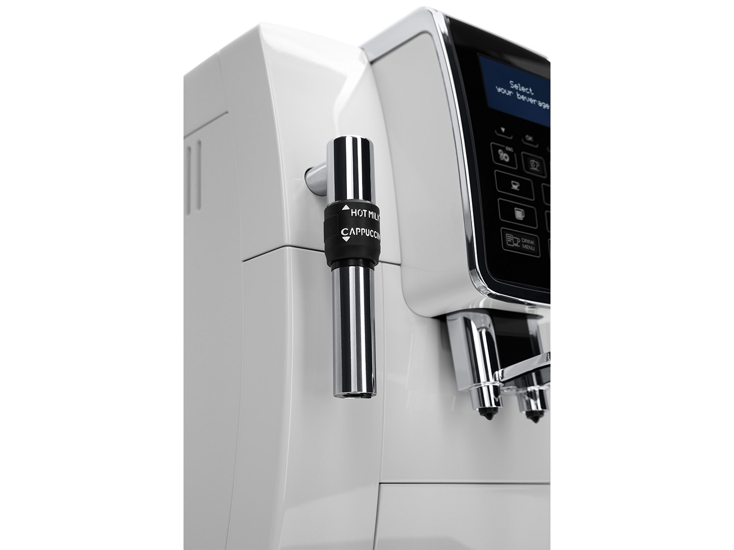 Dinamica coffee machine has a steam want for milk frothing for perfect coffee beverages