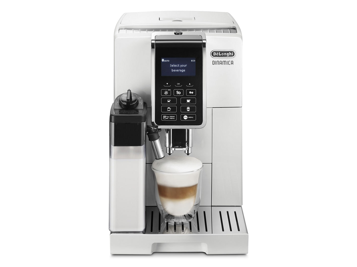 Dinamica delonghi ECAM35055W espresso machine makes cappuccino