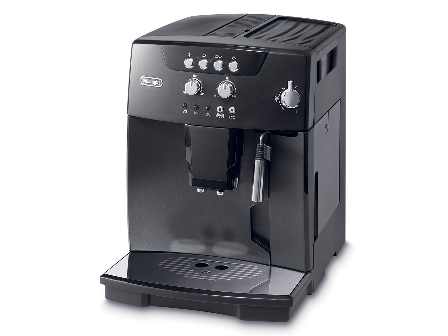 Magnifica ESAM04110B fully automatic coffee machine, this image shows how to froth milk