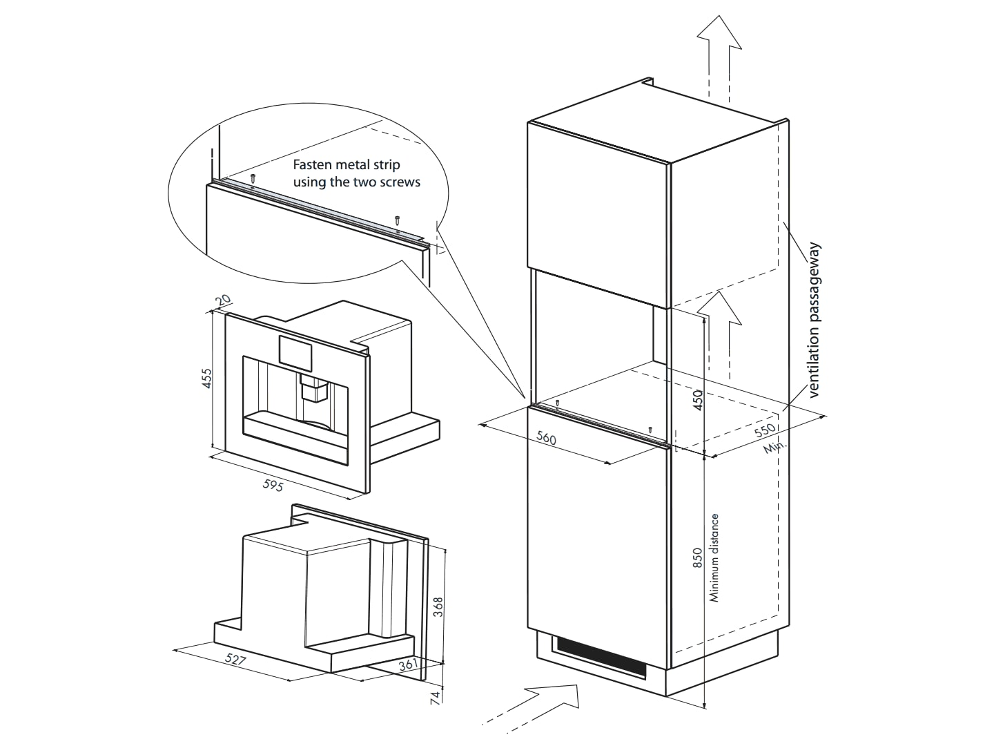 PrimaDonna EABI 6600 - Built-in Coffee Machine - Installation Diagram