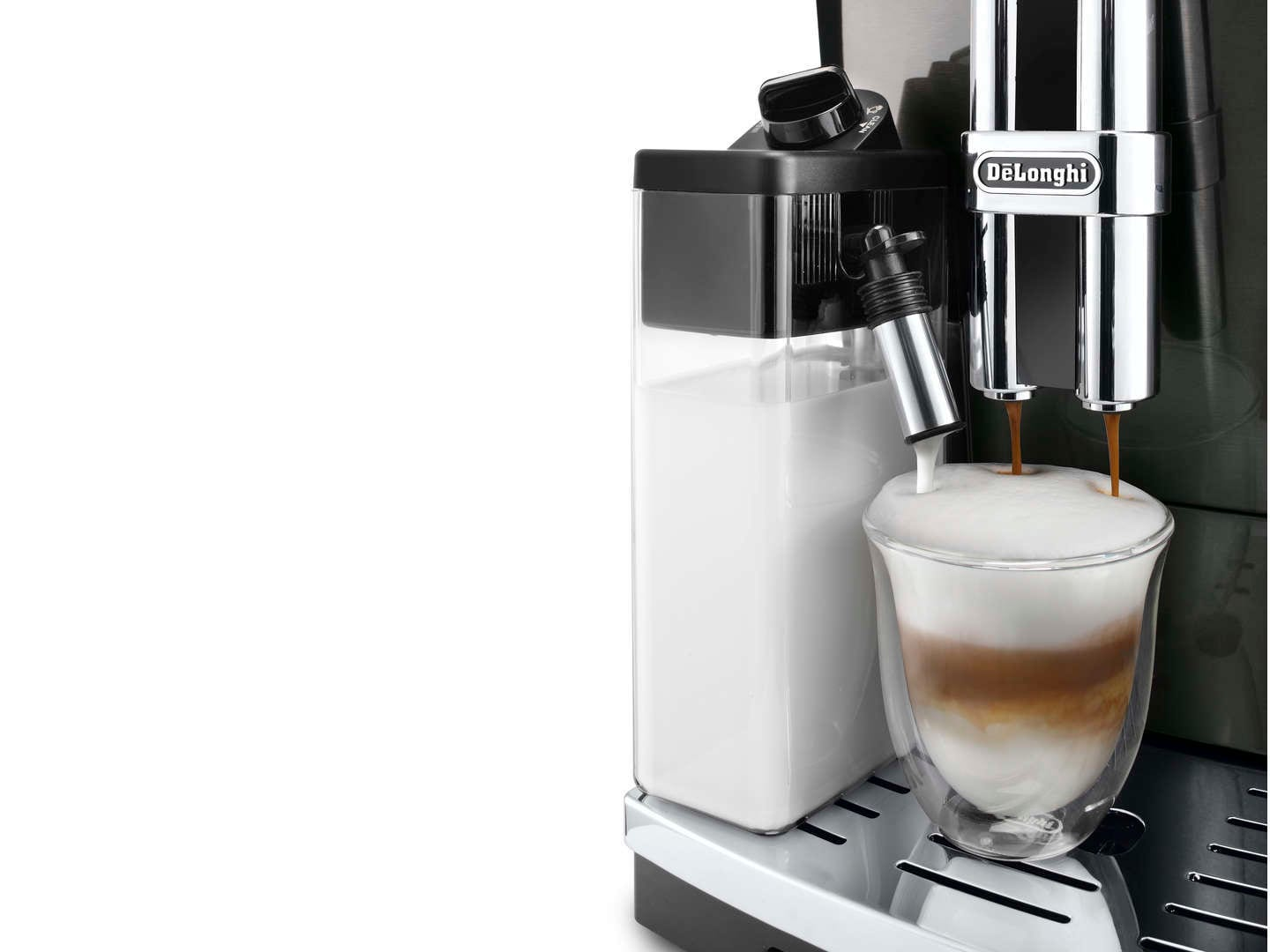 Design your espresso experience in one touch with the compact, full metal, bean-to-cup De'Longhi PrimaDonna S.  Add a touch of unmistakable Italian style with the PrimaDonnaS: premium stainless steel construction combined with a sleek compact foot print.