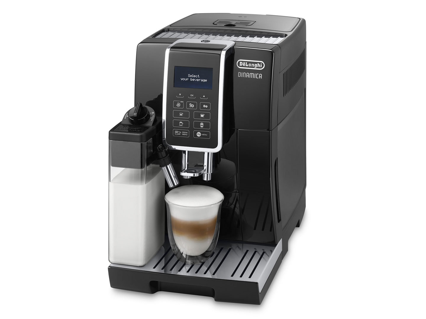 Dinamica ECAM 35055B is an Automatic Coffee Machine made in Italy with intuitive display to select and make coffee in just one touch