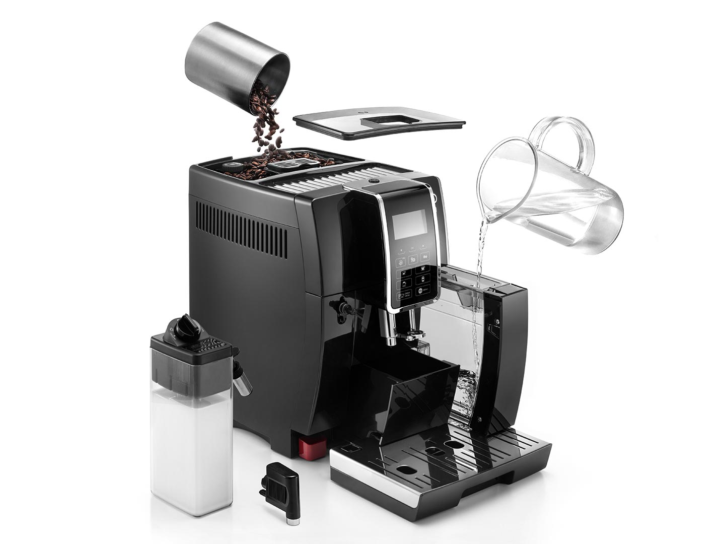 in this picture Dinamica ECAM 35055B Fully Automatic Coffee Machine makes coffee from freshly ground beans