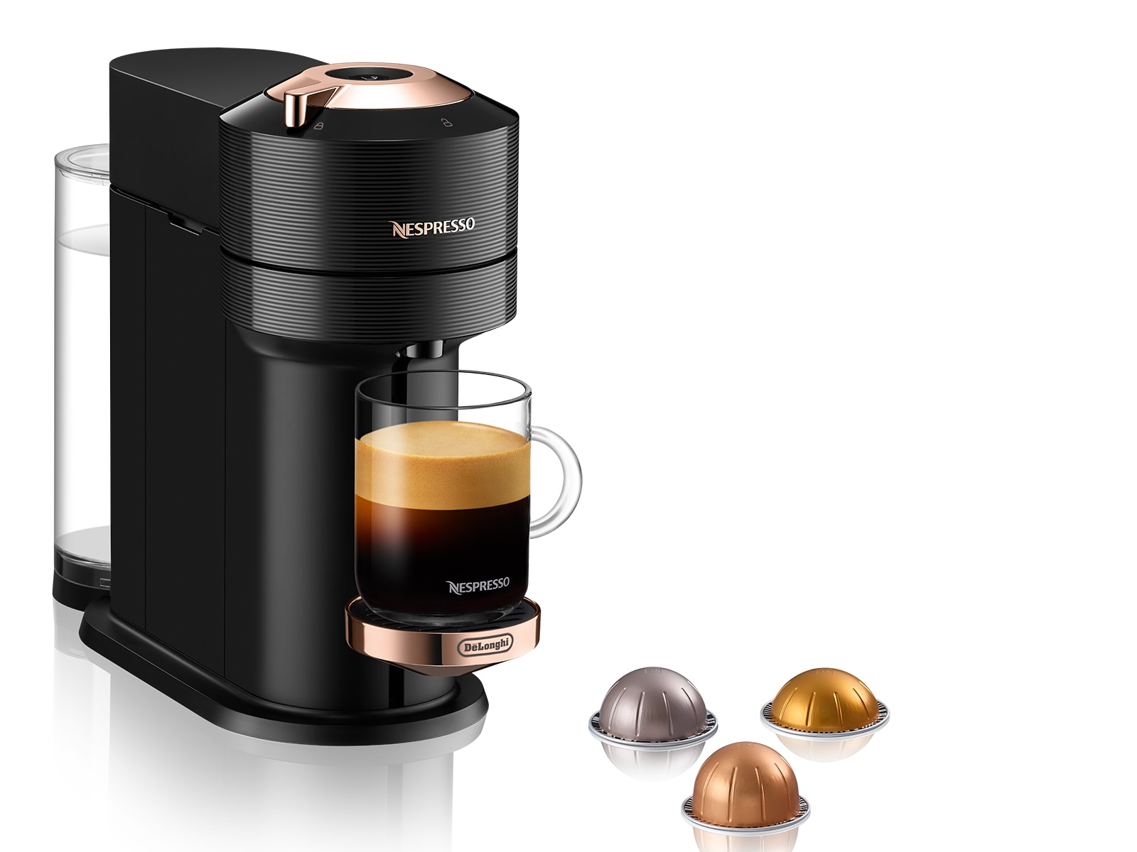 Nespresso Vertuo Next Coffee and Espresso Machine with Aeroccino by De'Longhi, Black with Rose Gold, - ENV120BAECA