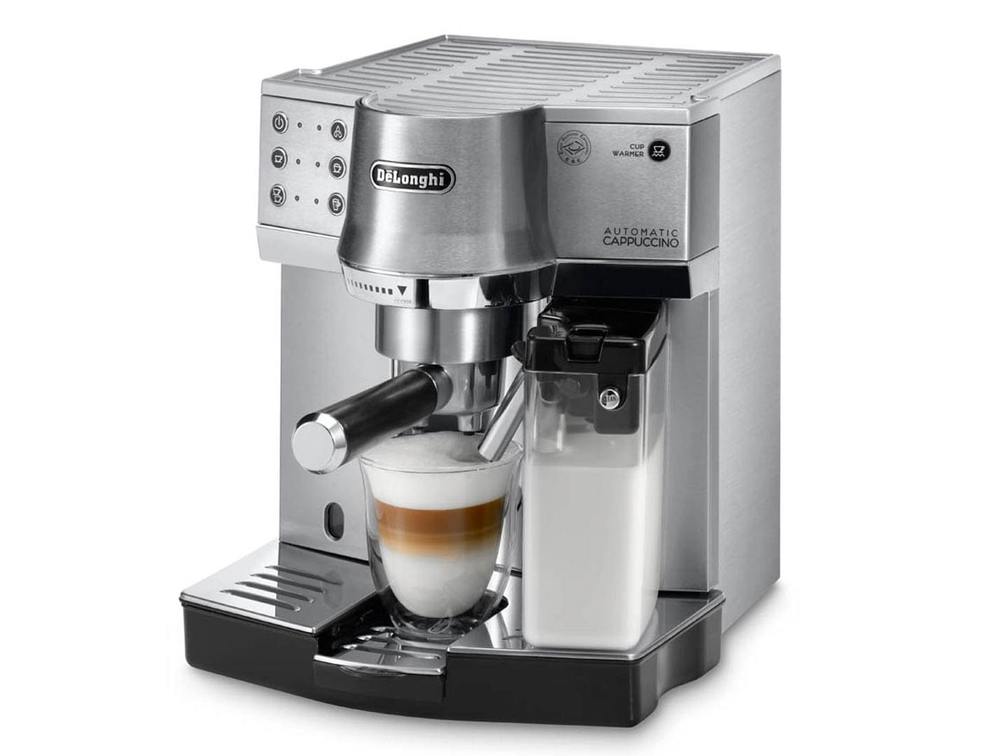 EC860M silver pump coffee machine - espresso coffee machine delonghi australia frothing milk