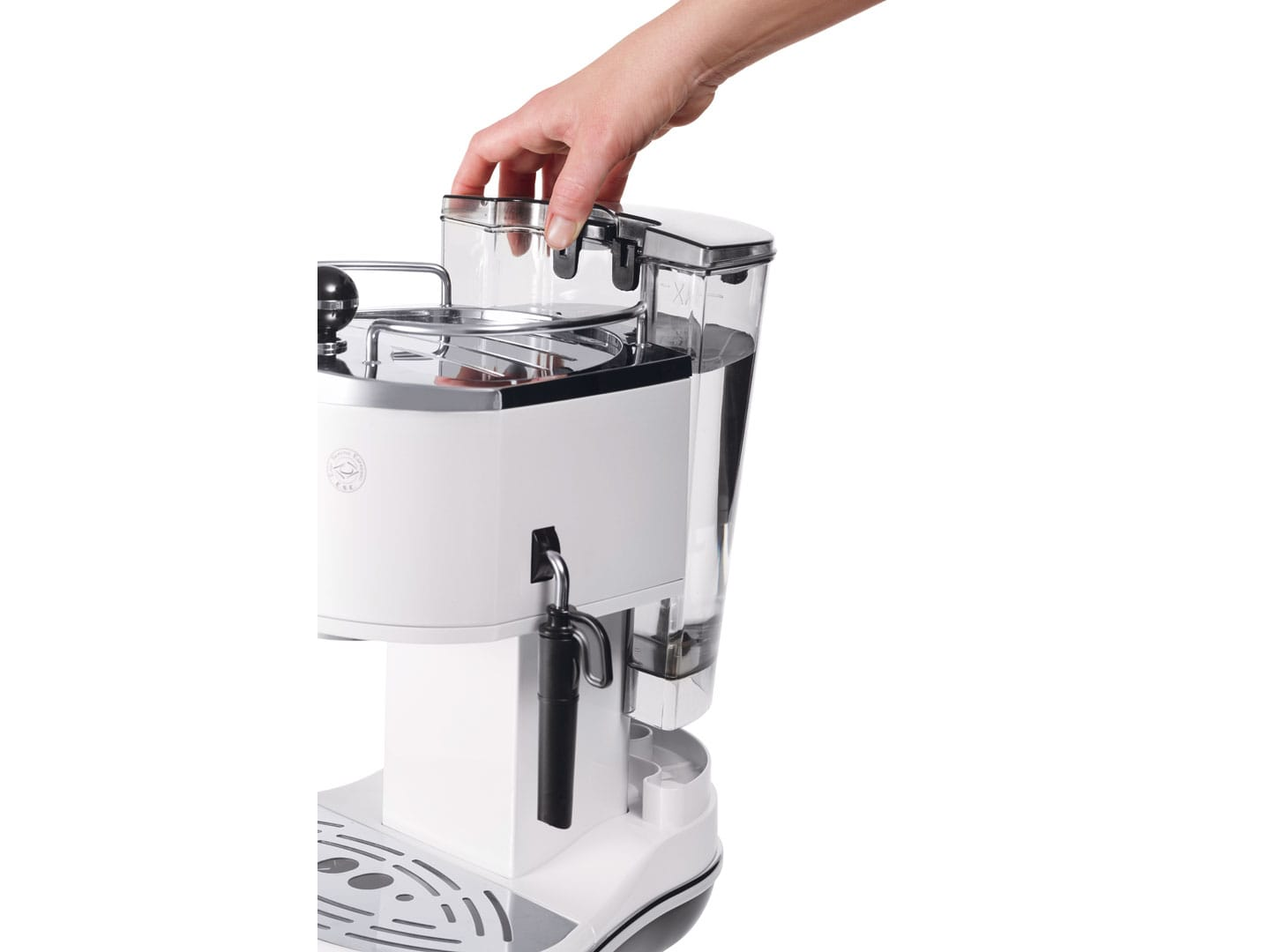 Icona Pump Espresso - White small coffee machine on kitchen benchtop