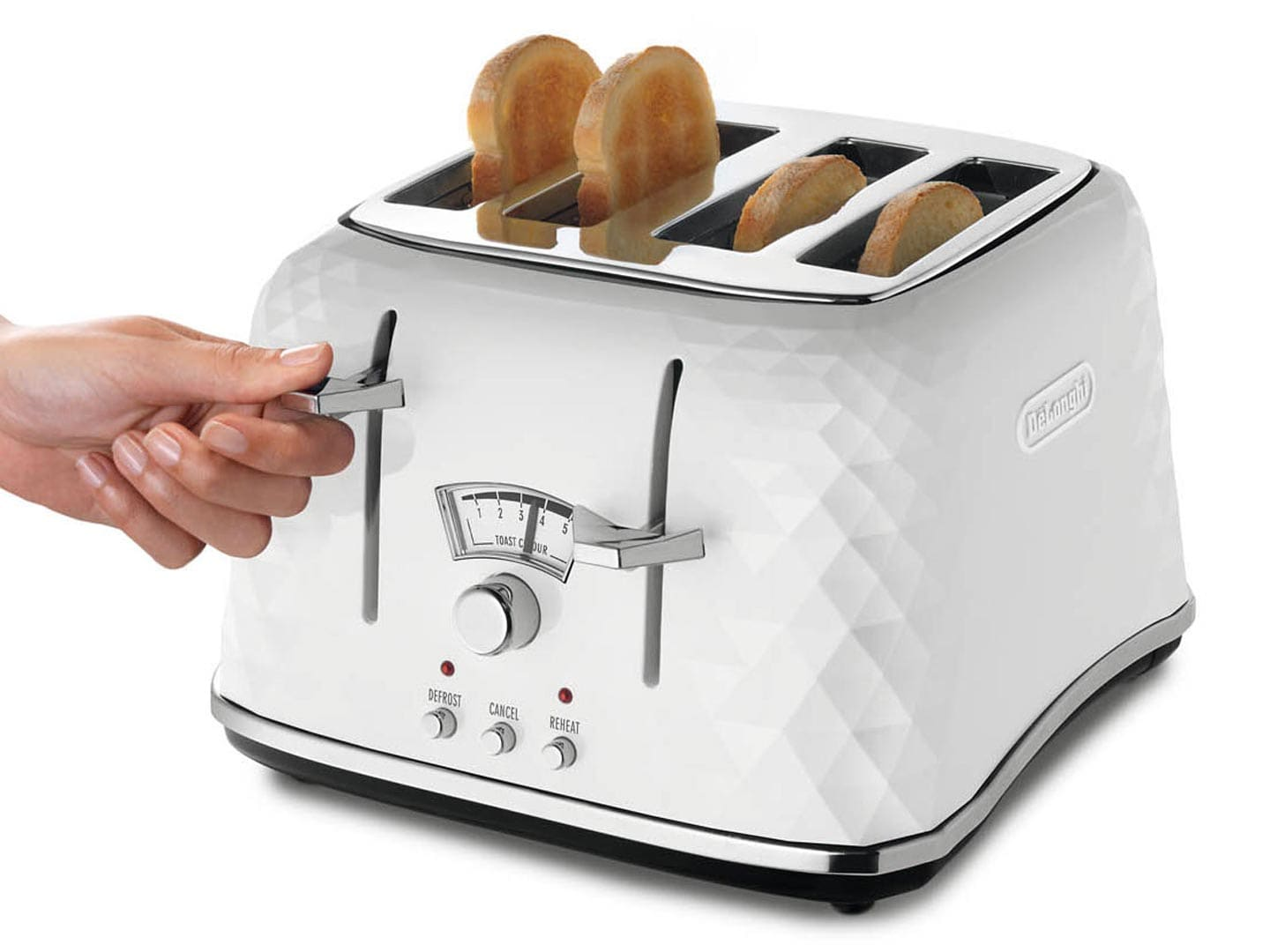 DeLonghi Brillante 4 Slice Toaster White CTJ4003W