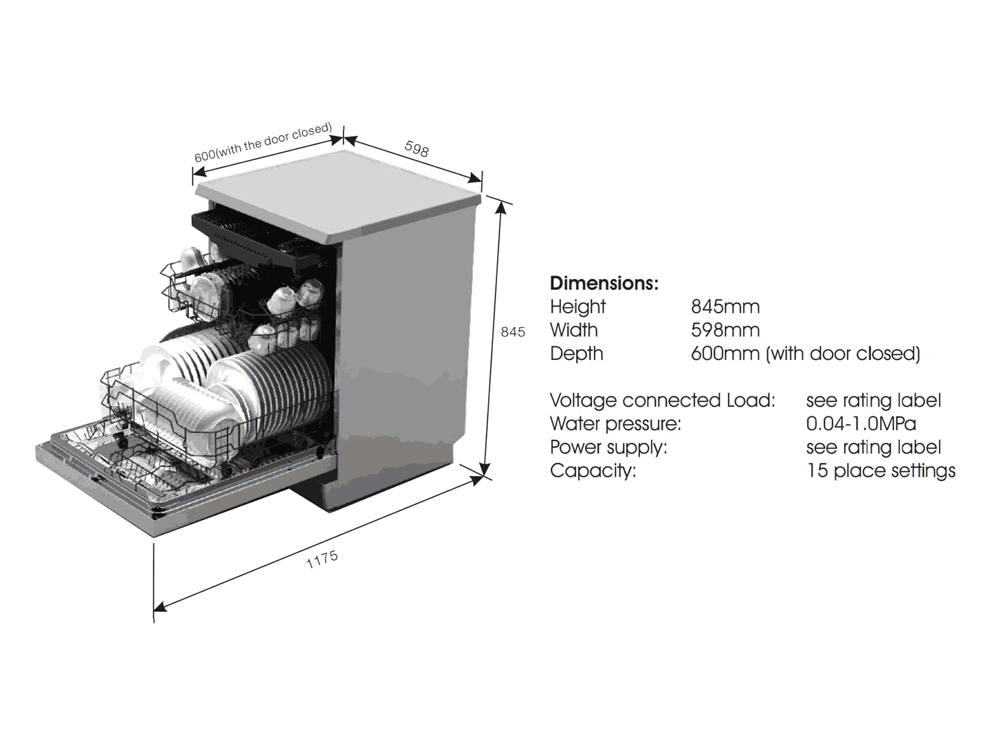 Freestanding Dishwasher 60cm Stainless Steel DEDW6015S - Installation Diagram