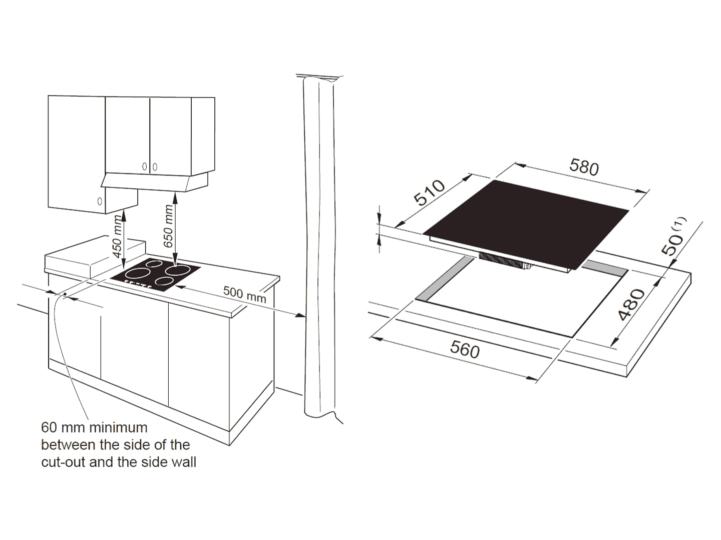 60cm 4 Zone Ceramic Glass Induction - DEIND64C - Installation Diagram