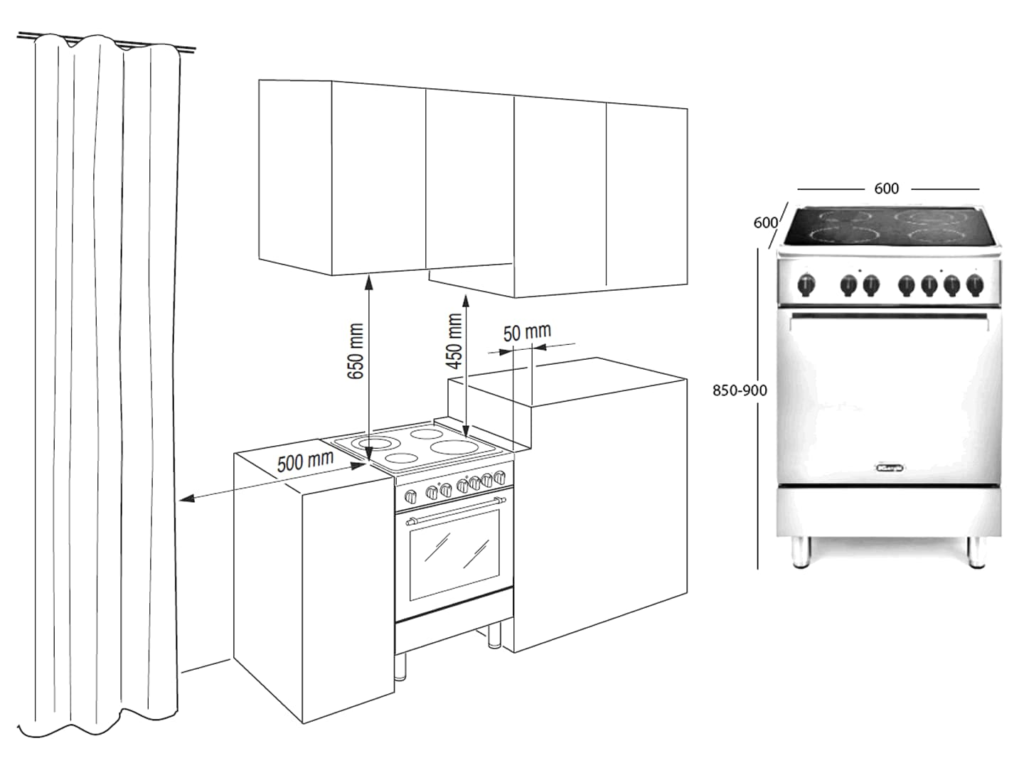 60cm Lifestyle Electric Freestanding Oven - DEFL605E - Installation Diagram