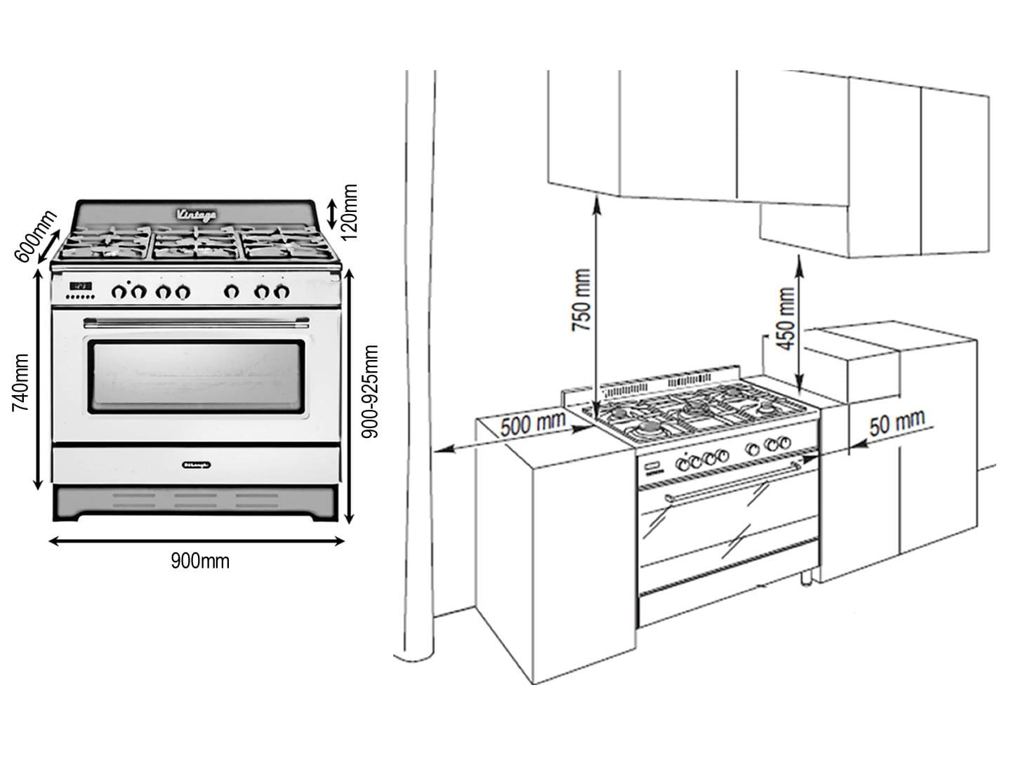 Cream 90cm Vintage Dual Fuel Cooker - DEFV908CR - Installation Diagram
