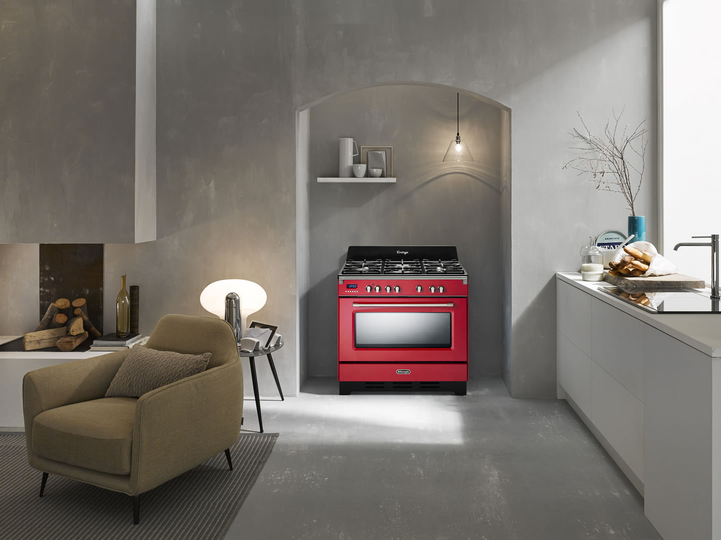 Red 90cm Vintage Dual Fuel Cooker - DEFV908R - Lifestyle