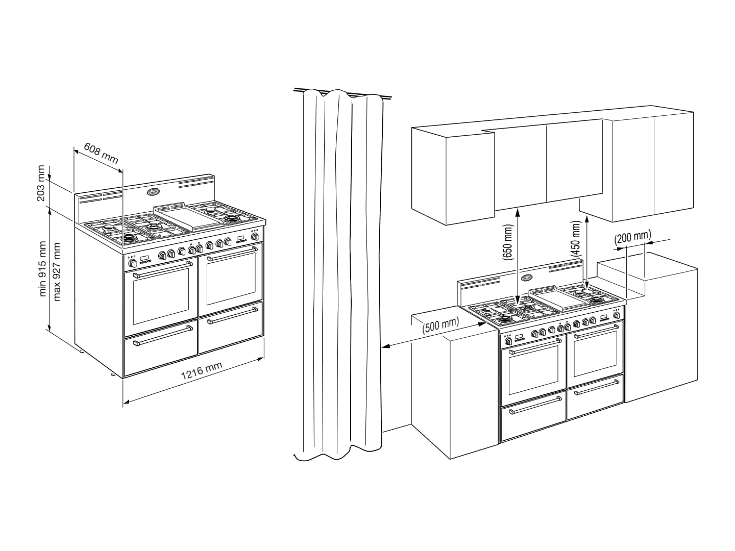 Art Series - Double Pyrolytic Oven - AP1246GWT - Installation Diagram