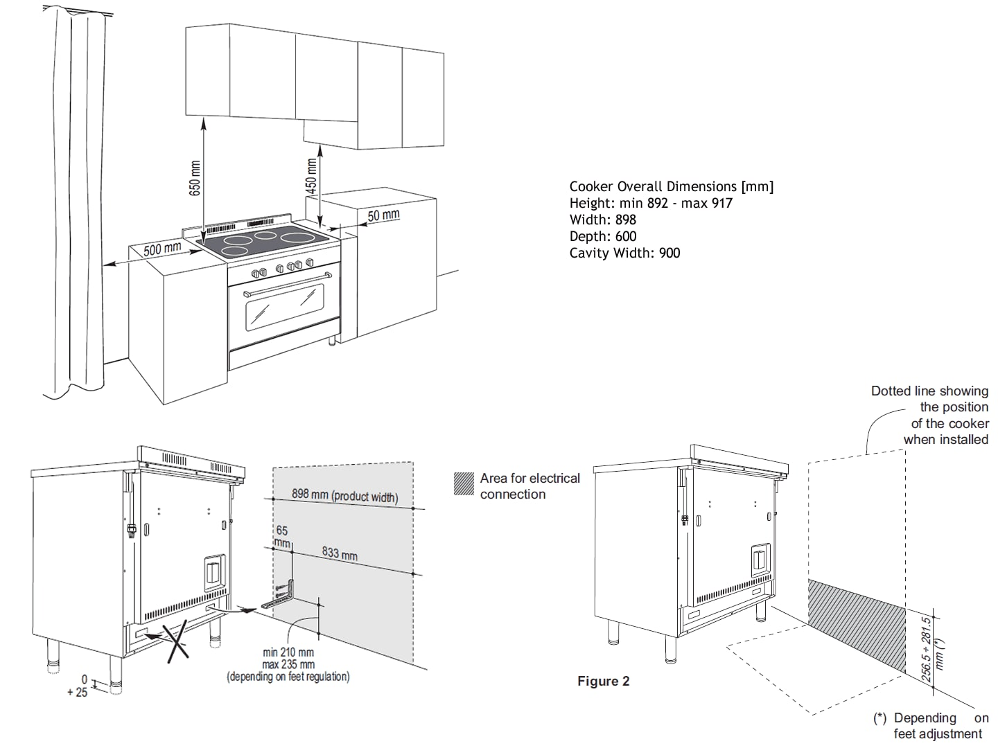 Freestanding Oven with Induction Cooktop - 90cm DEF909IND Installation Diagram