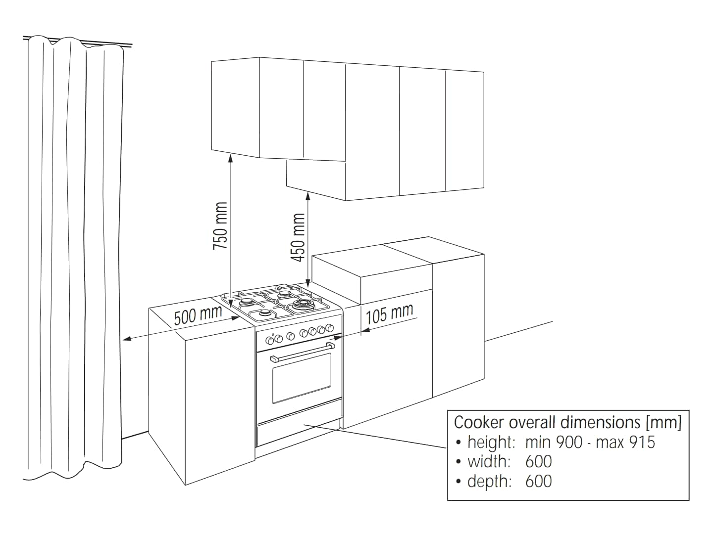 Upright Oven DEF605GW - Installation Diagram