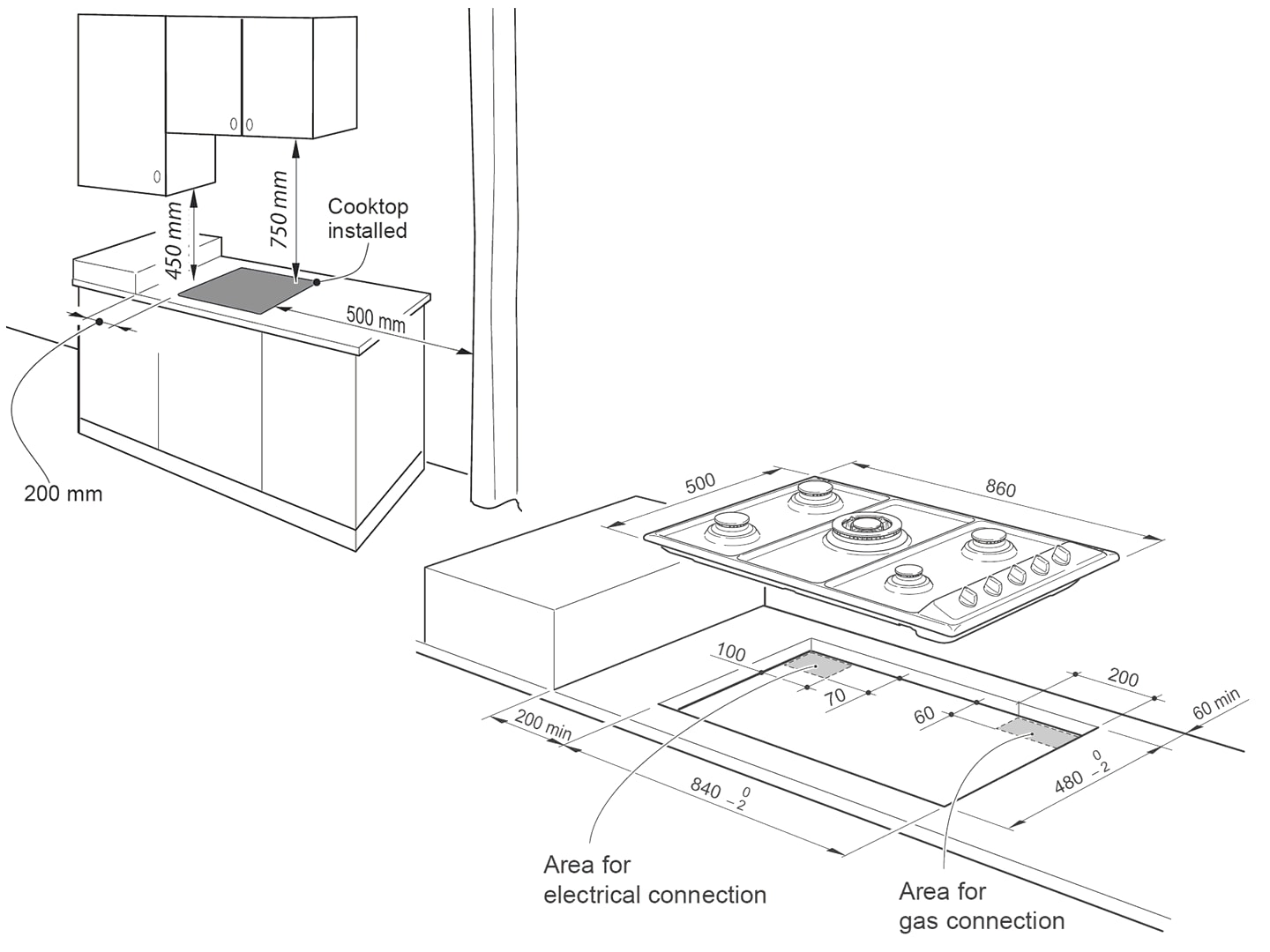 5 Burner 90cm Gas Cooktop - DEGH90STF - Installation Diagram