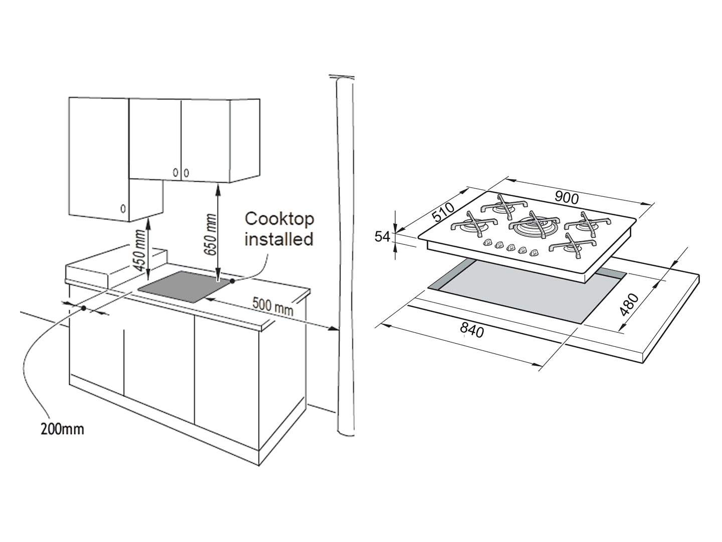 DeLonghi 90cm 5 Burner Electronic Gas on Glass Cooktop - DEGMATIK90 - Installation Diagram