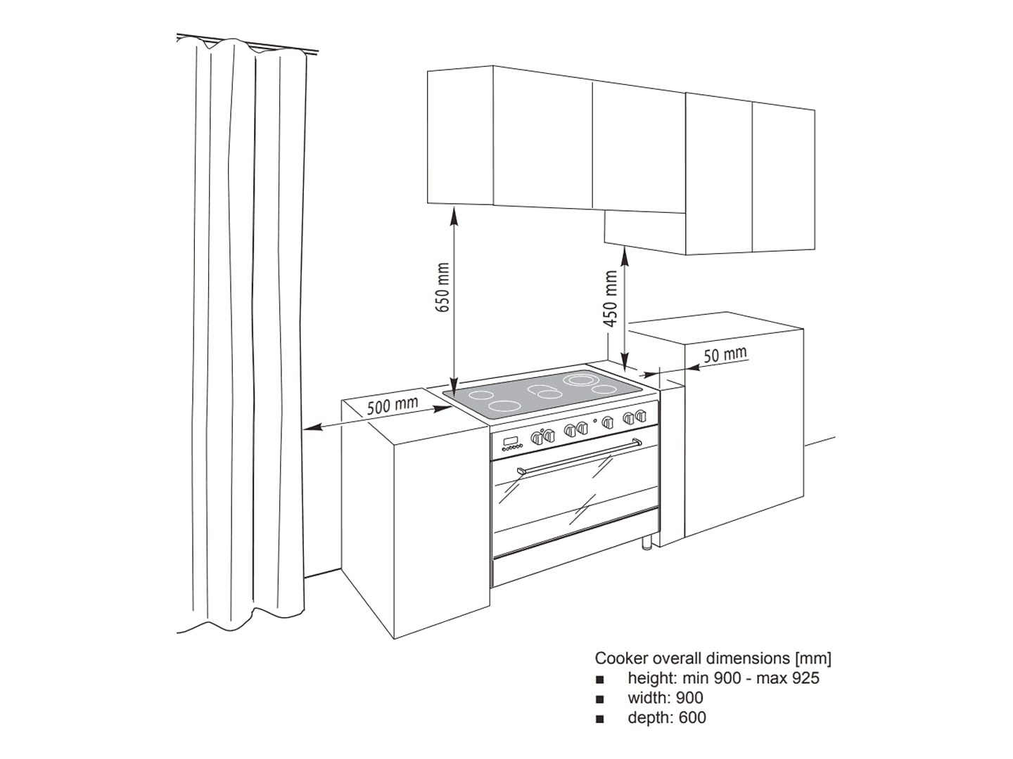 Freestanding 90cm Oven with Electric Cooktop - DEF905EX1 - Installation Diagram