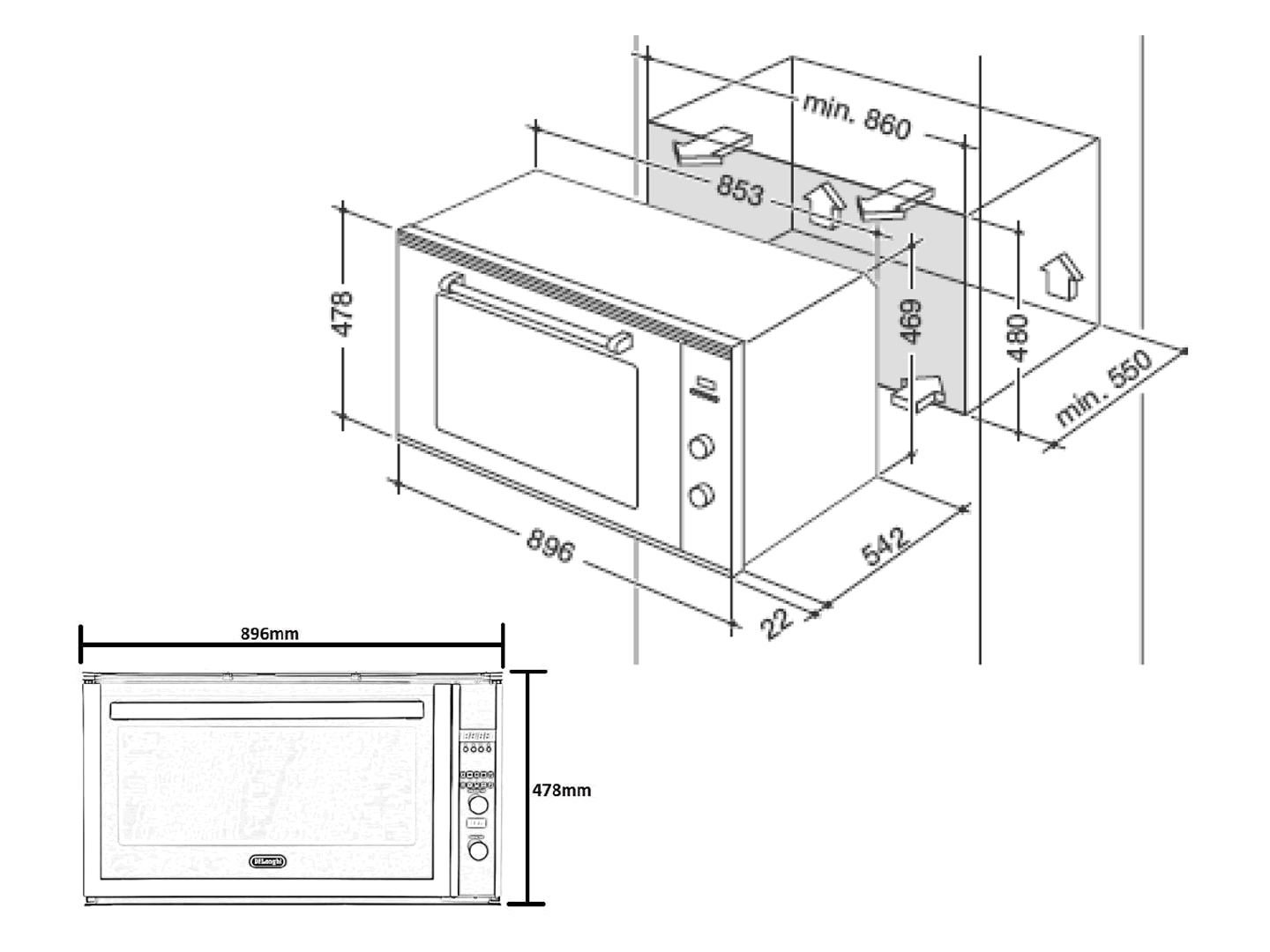 Multifunction Programmable Oven DE908MP - Installation Diagram