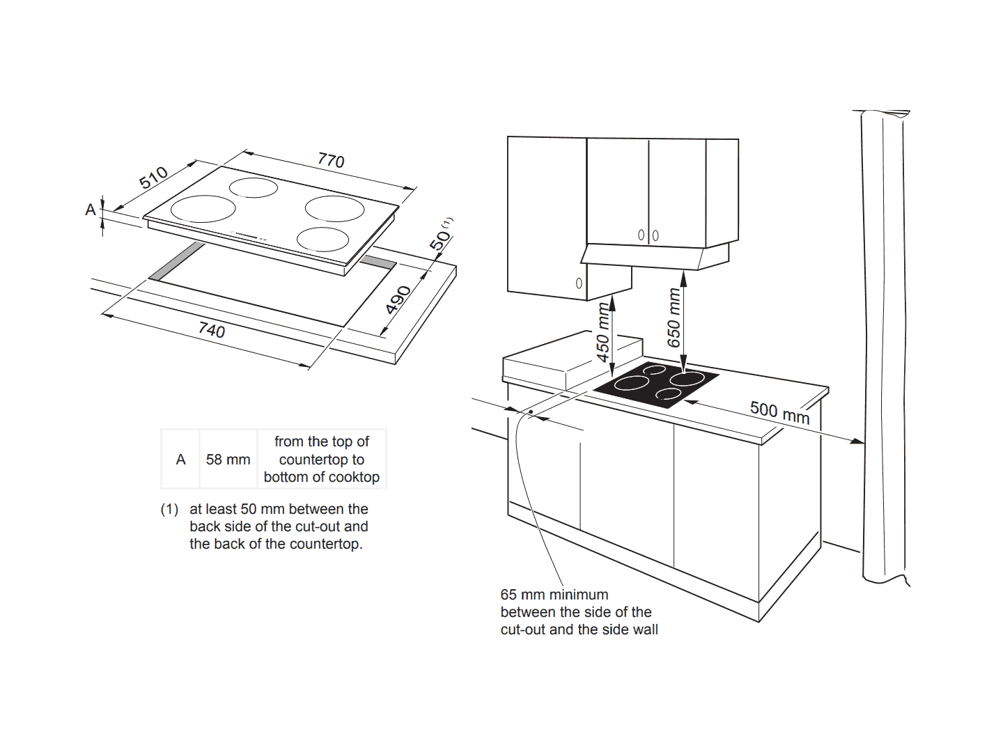 4 Zone 80cm Induction Touch Control Cooktop - DEIND804 - Installation Diagram
