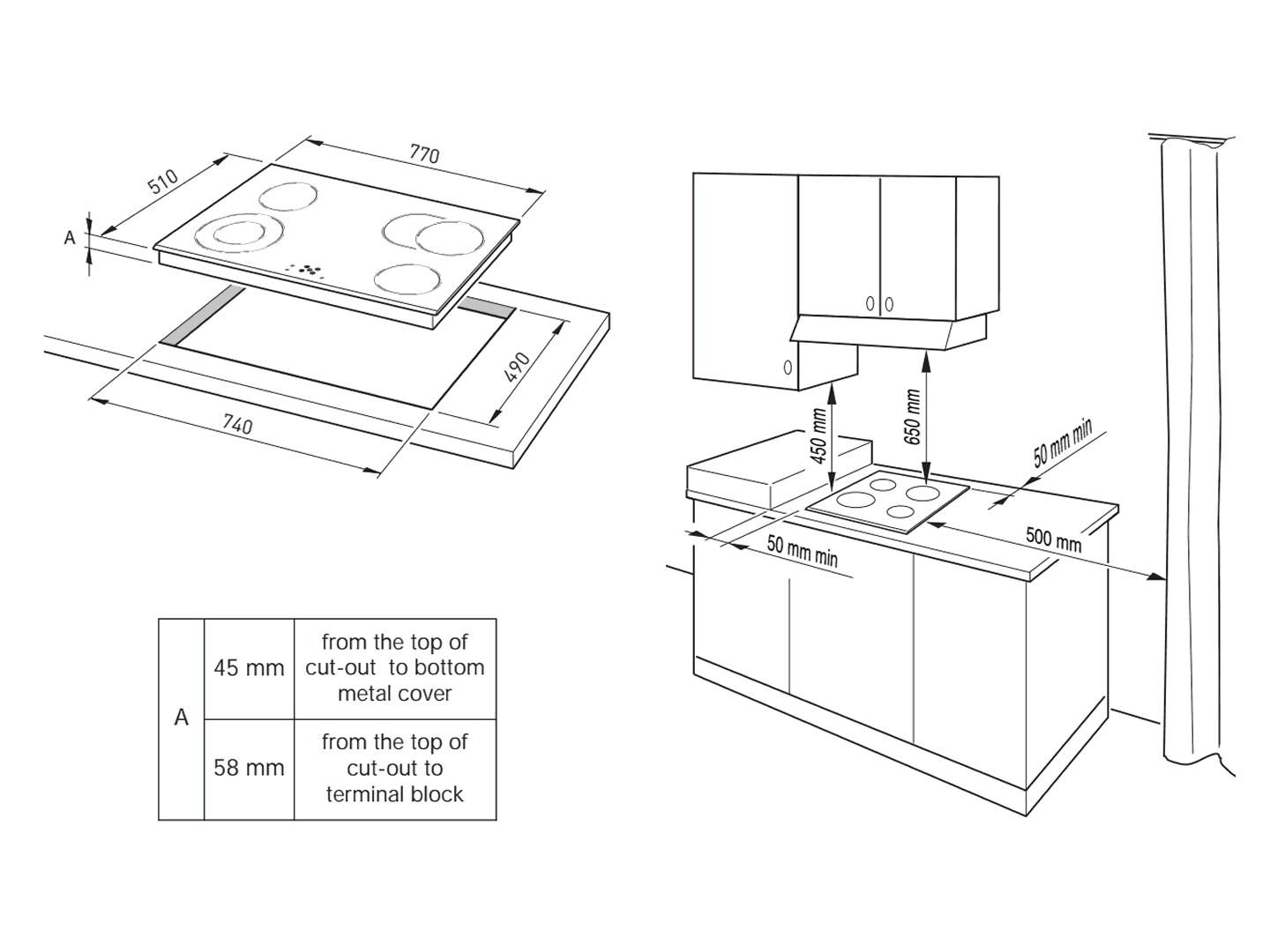 4 Burner 80cm Ceramic Electric Cooktop - DTCH80B - Installation Diagram