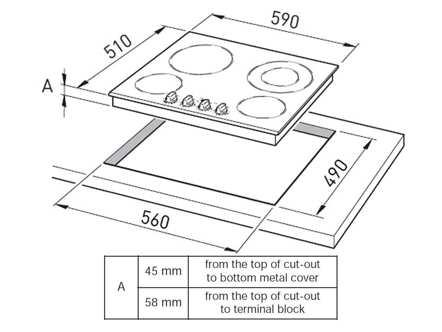 60cm 4 Zone Black Glass Ceramic Cooktop DECH60SX1 Installation Diagram