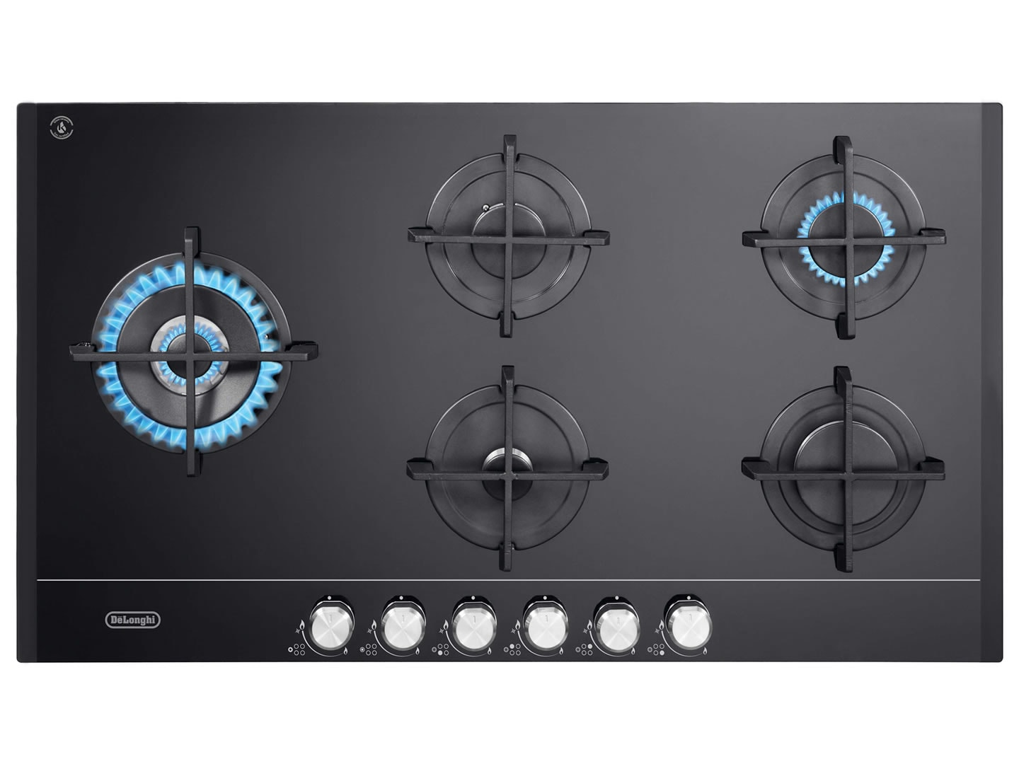 DeLonghi 90cm 5 Burner Black Glass Gas Cooktop DEGHBG90