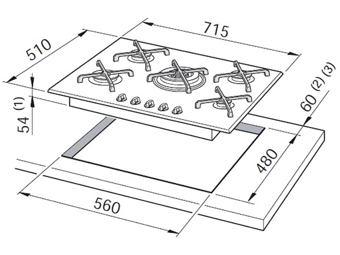 70cm 5 Burner Black Glass Gas Cooktop DEGH70BGX1 Installation Diagram