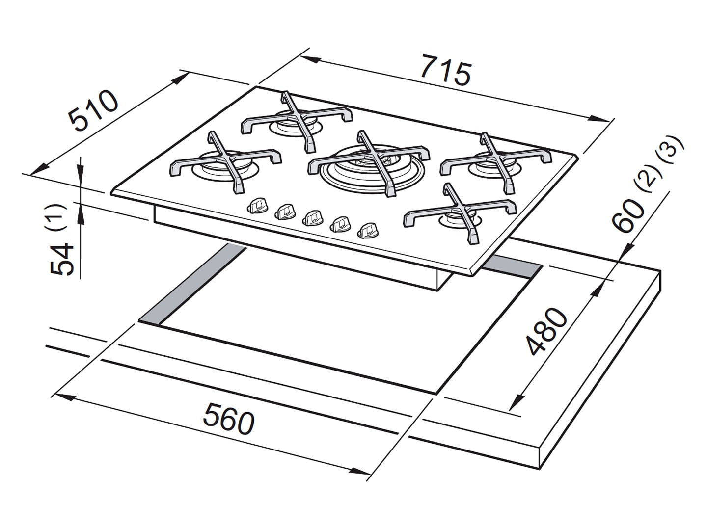 Gas Cooktop 5 Burner - 70cm