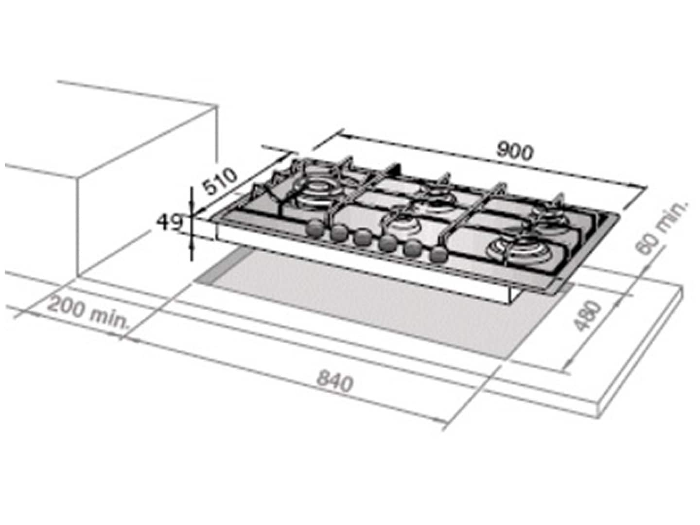 90cm 5 Burner Slimline Gas Cooktop DEGHSL90 Installation Diagram