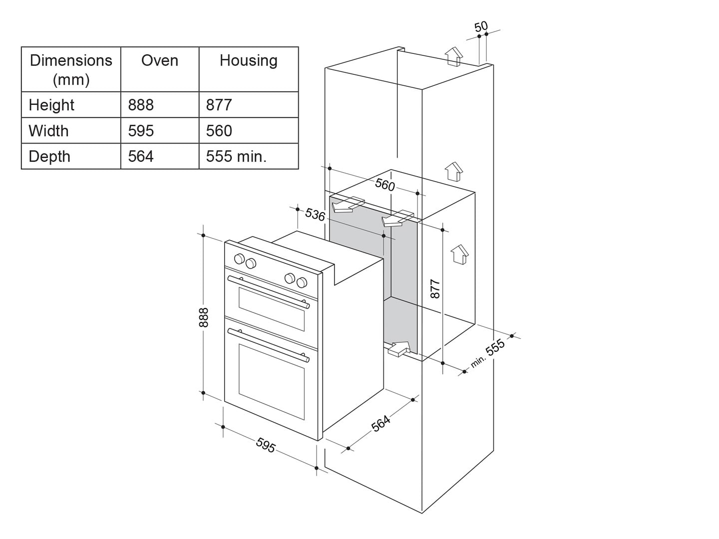 60cm Multi Function Double Wall Oven - DEL6038D - Installation Diagram