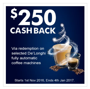 up to $250 cashback offer on coffee machine purchase