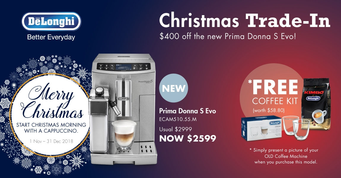 Trade in your coffee machine to enjoy $400 off the Prima Donna S Evo today!