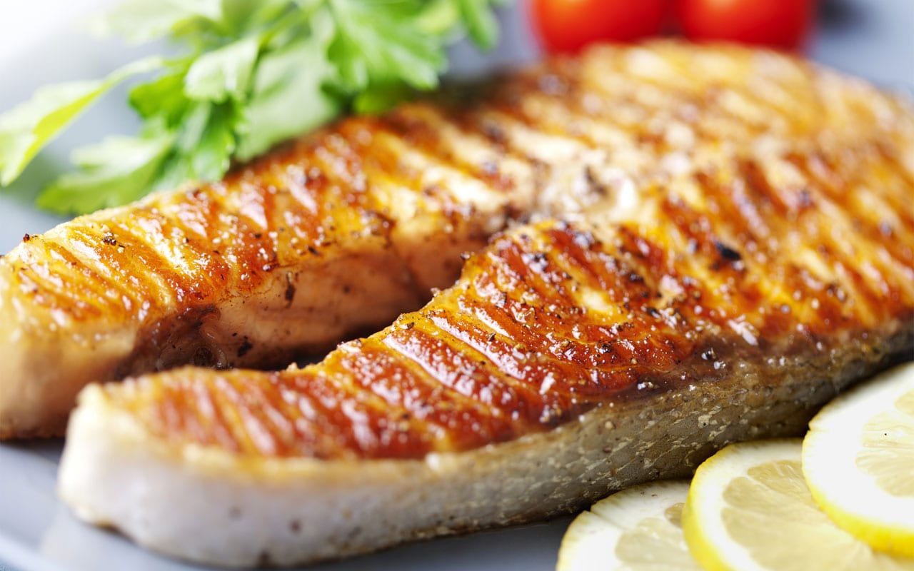 Caramelised salmon
