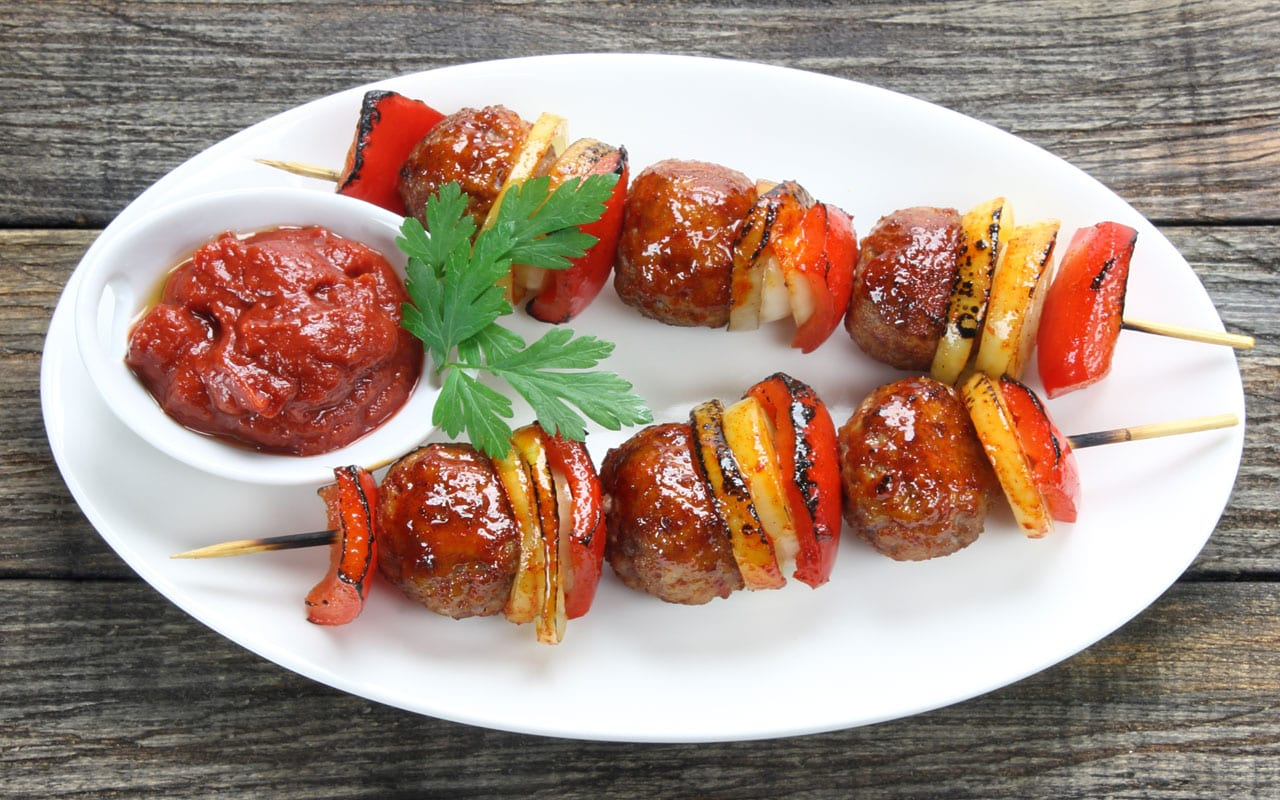 Meatballs on kebabs