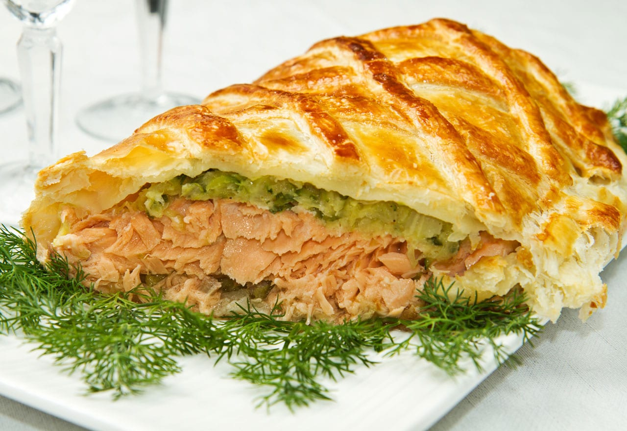 Salmon in pastry with spinach