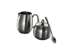 Milk Jug and Sugar Bowl with Teaspoon
