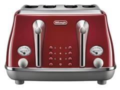 DeLonghi Icona Capitals 4 Slice Toaster - Tokyo Red CTOC 4003.R