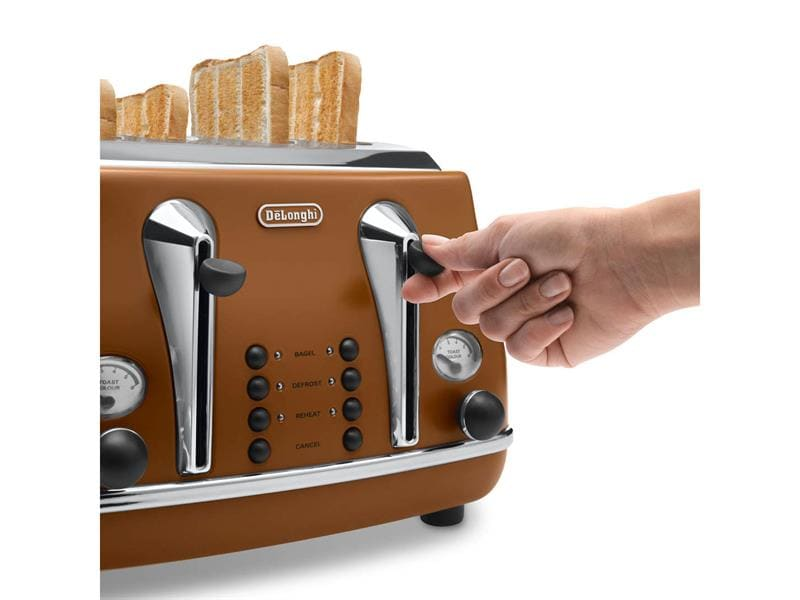 Icona Vintage 4 Slice Toaster - Brown