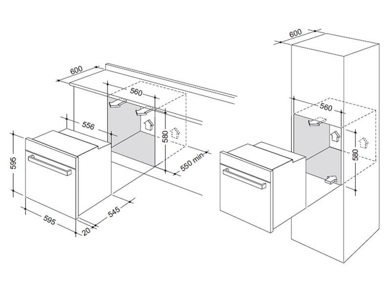 60cm 85L Pyrolytic Built In Oven DEP7410P installation diagram