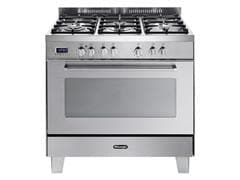 DeLonghi Freestanding 90cm Stainless Steel Dual Fuel Cooker DEFP907S