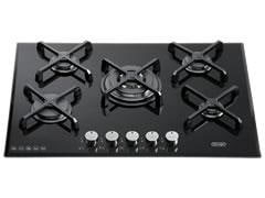 DeLonghi 5 Burner 70cm Black Ceran Glass Gas Cooktop DEGH70BG