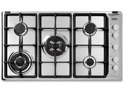 DeLonghi 90cm 5 Burner Gas Cooktop with Wok Burner DEGH90W