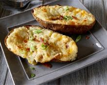 Twice Baked Cheddar Potatoes with Bacon