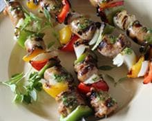 Sausage and Pepper Kebabs with Pesto
