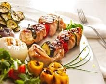 Meat and vegetable kebabs