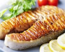 Caramelised salmon steak